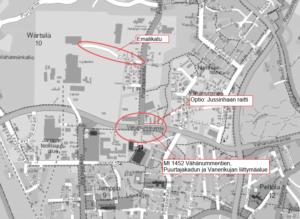 Wärtsilän alueen infran rakentaminen kartalla