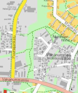 Maastokatselmusalue kartalla Vähänummen yritysalueella